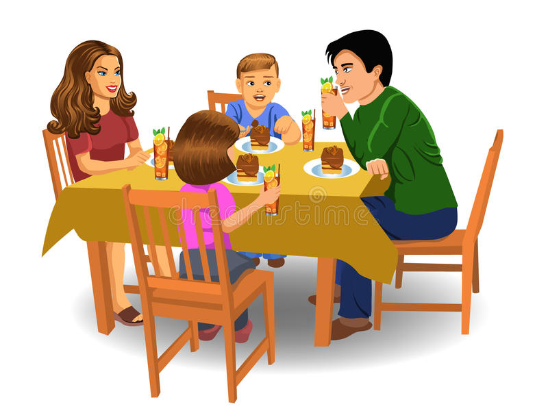 Family Dinner Stock Illustrations.