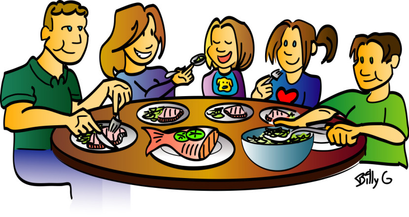 family eating lunch clipart #20