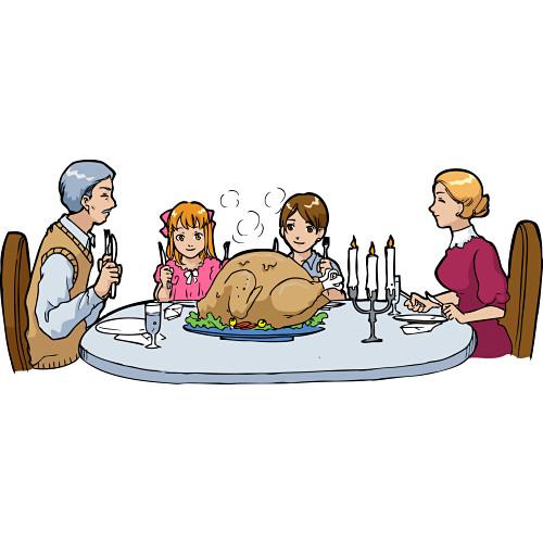 Family Dinner Table Clipart.
