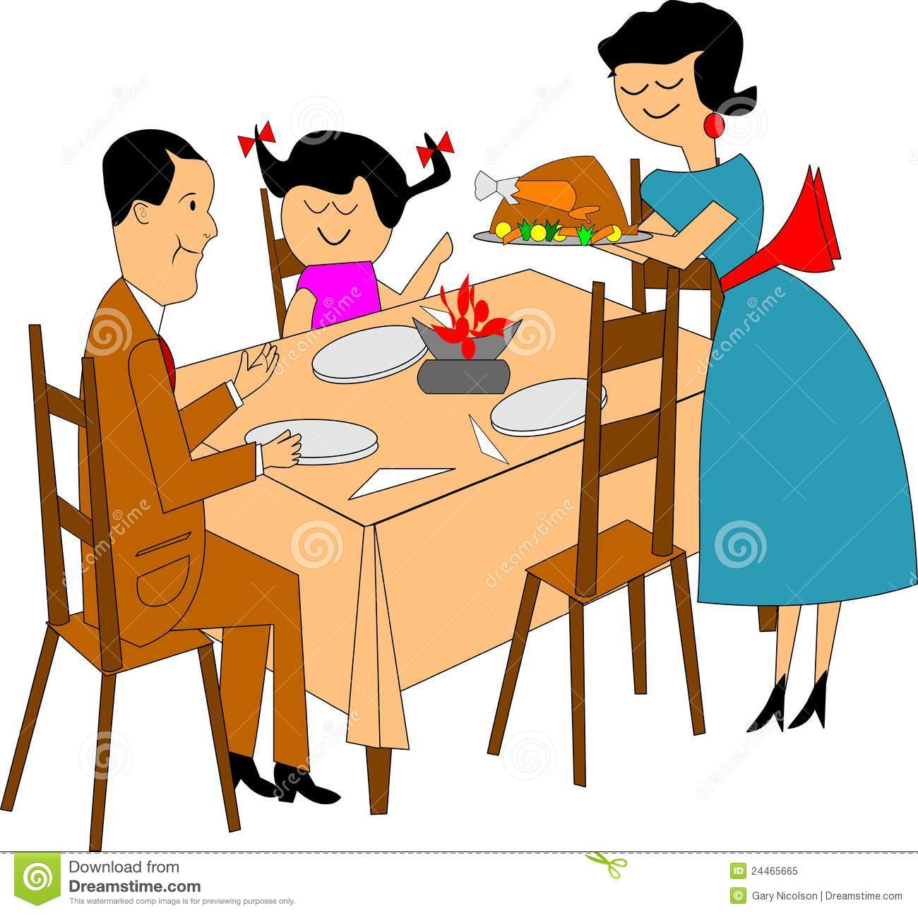 Free Clipart Family At Dinner Table.