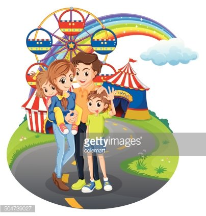 Family at the park Clipart Image.