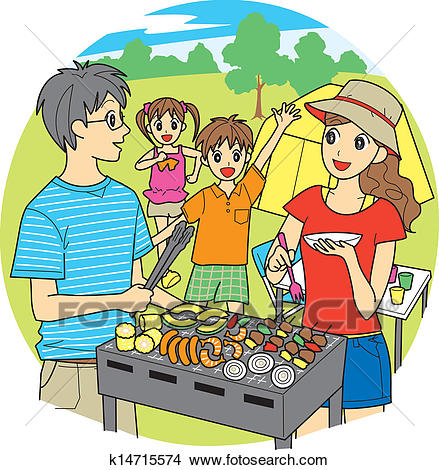 Family barbecue Clipart.
