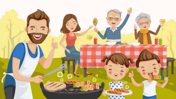 Best Family Bbq Illustrations, Royalty.