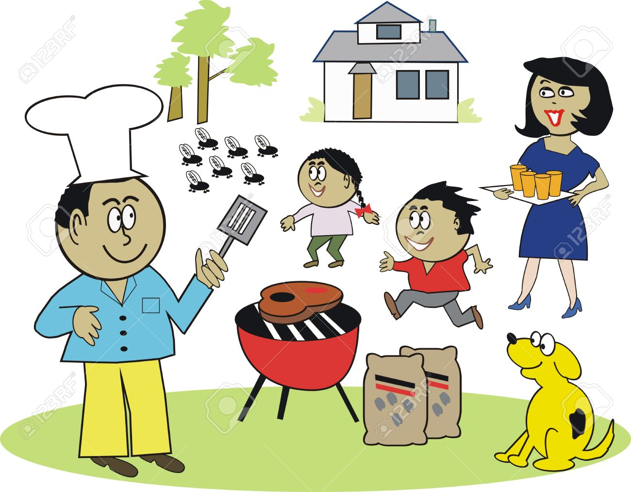 Happy African family barbecue cartoon.
