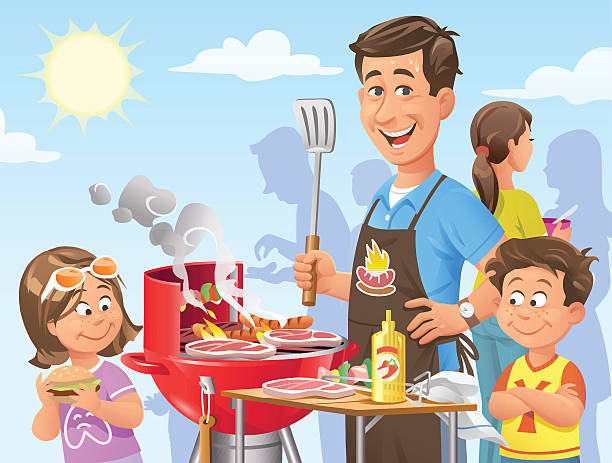 Best Family Bbq Illustrations, Royalty.