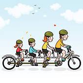 Cycling Family Clip Art.