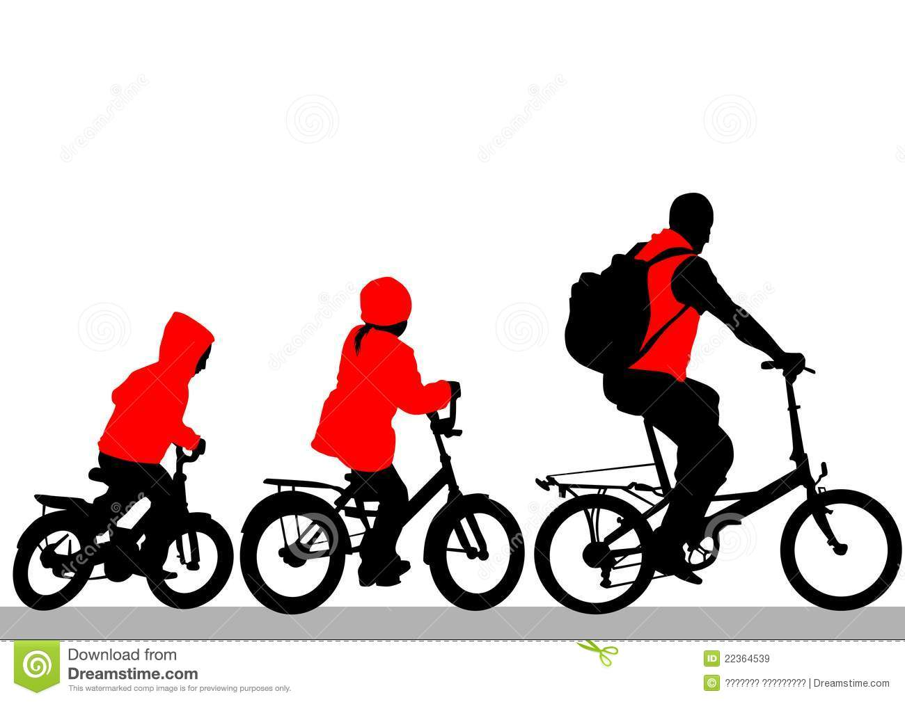 Family cycling clipart