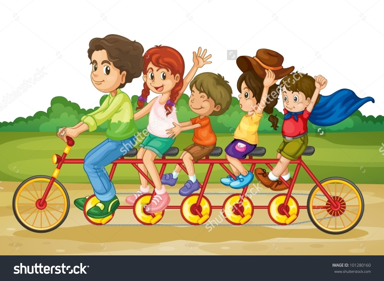 Family Riding On Same Bike Park Stock Vector 101280160