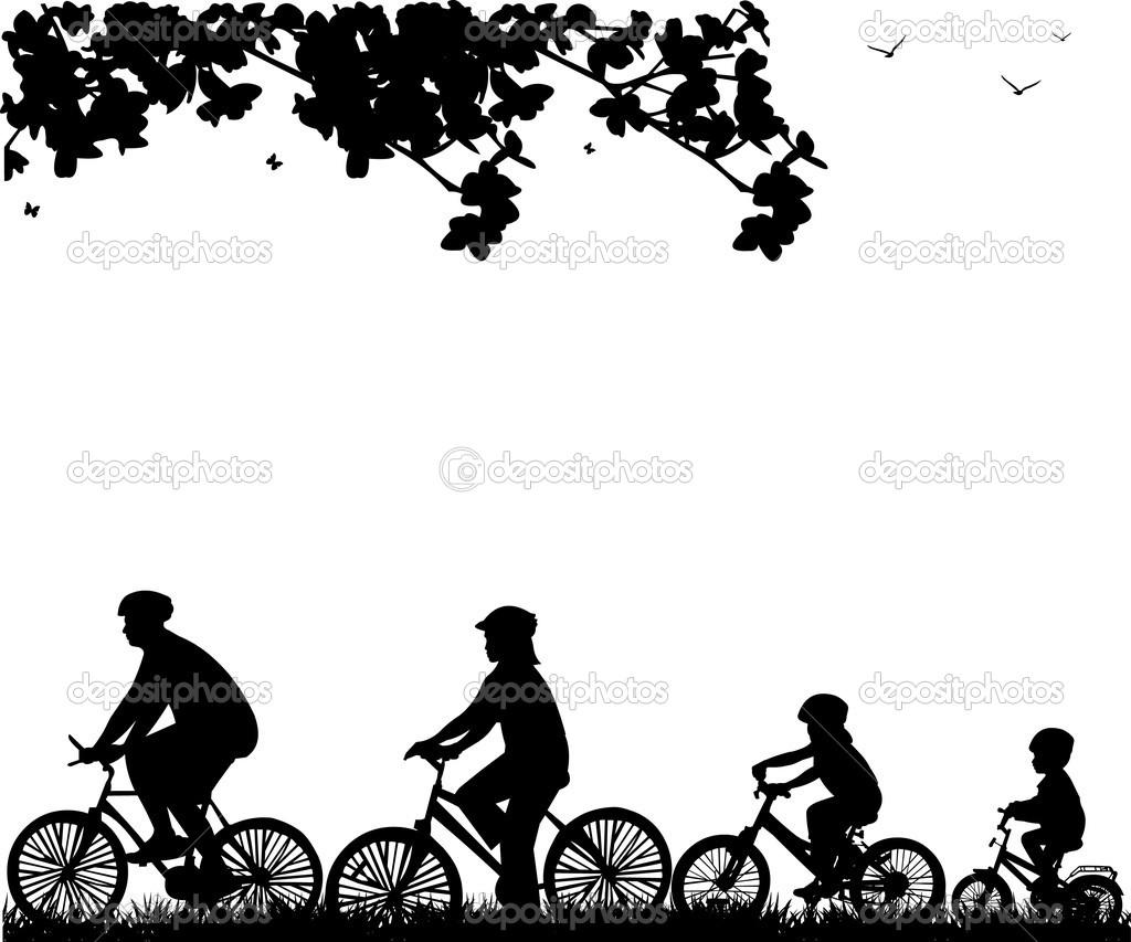 Family bike ride in park in spring silhouette — Stock Vector.