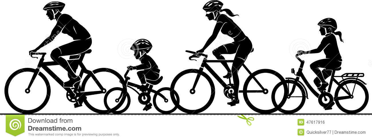 Family Riding Bikes Clipart