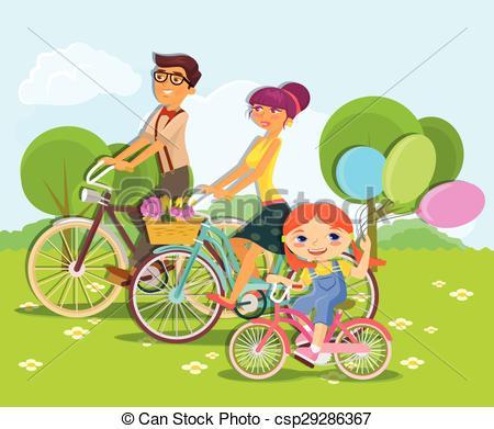 Clip Art Vector of Family rides bike. Vector cartoon flat.