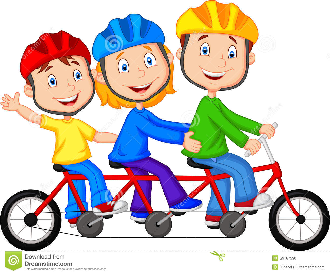 Family riding bikes clipart.