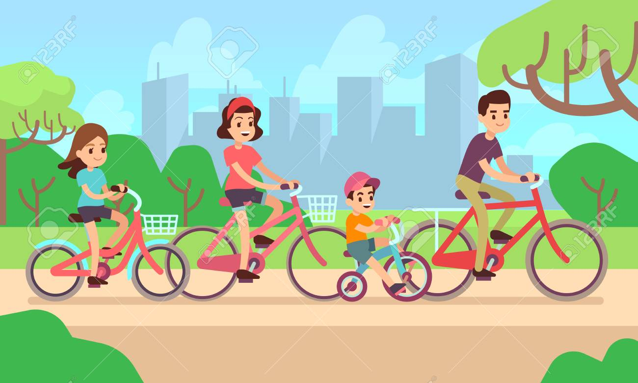 Happy children and parents riding bikes. Active family vector...