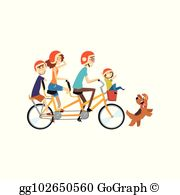 Family Bike Ride Clip Art.