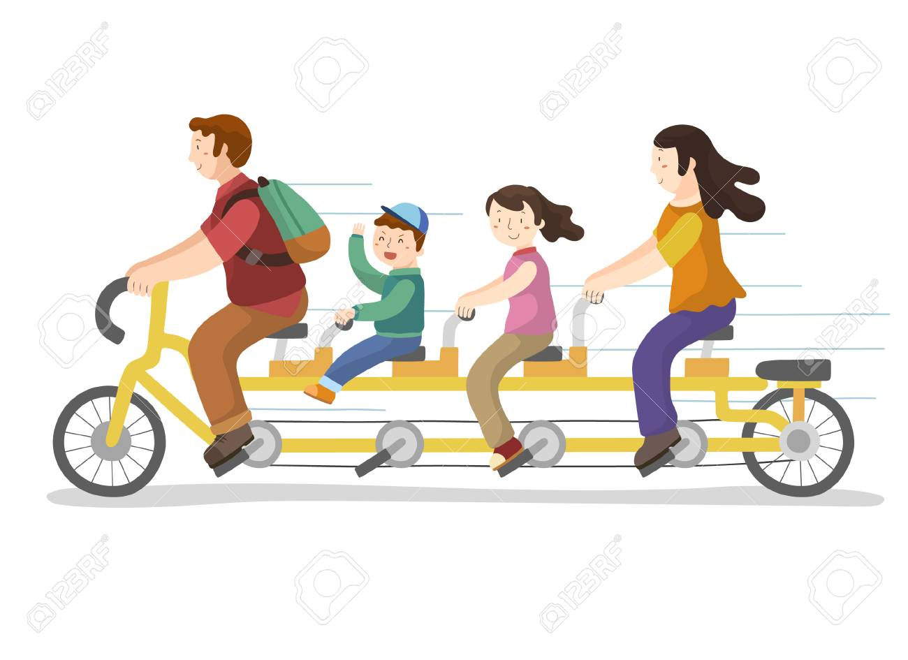Happy family riding family bicycle.
