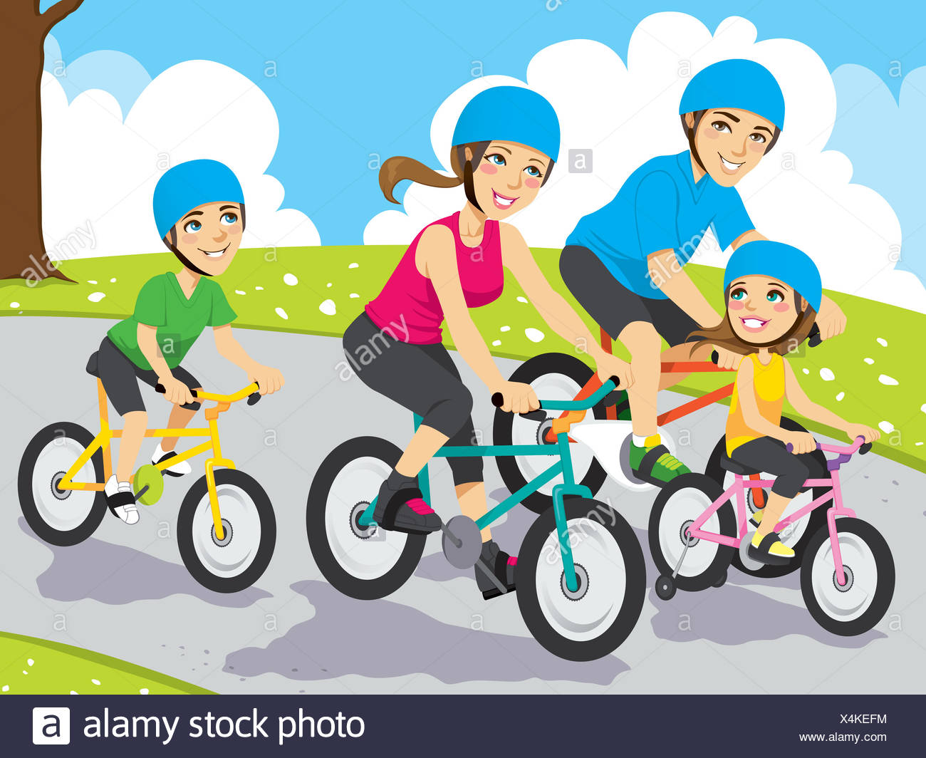 A family bike ride Stock Photo: 278253016.