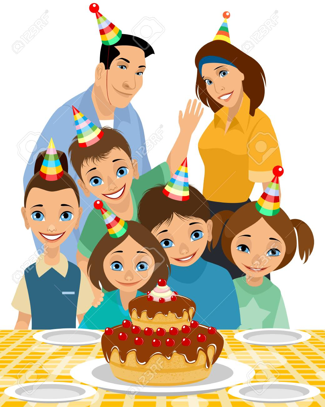 Vector illustration of family of the birthday child.