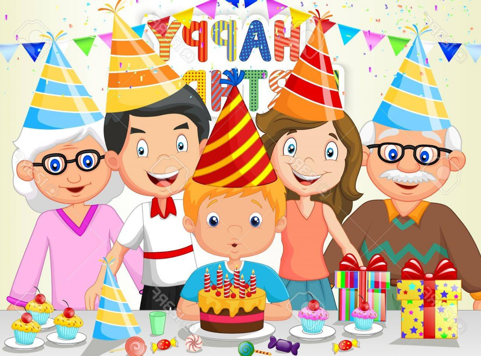 Photostock Vector Happy Boy Cartoon Blowing Birthday Candles With.