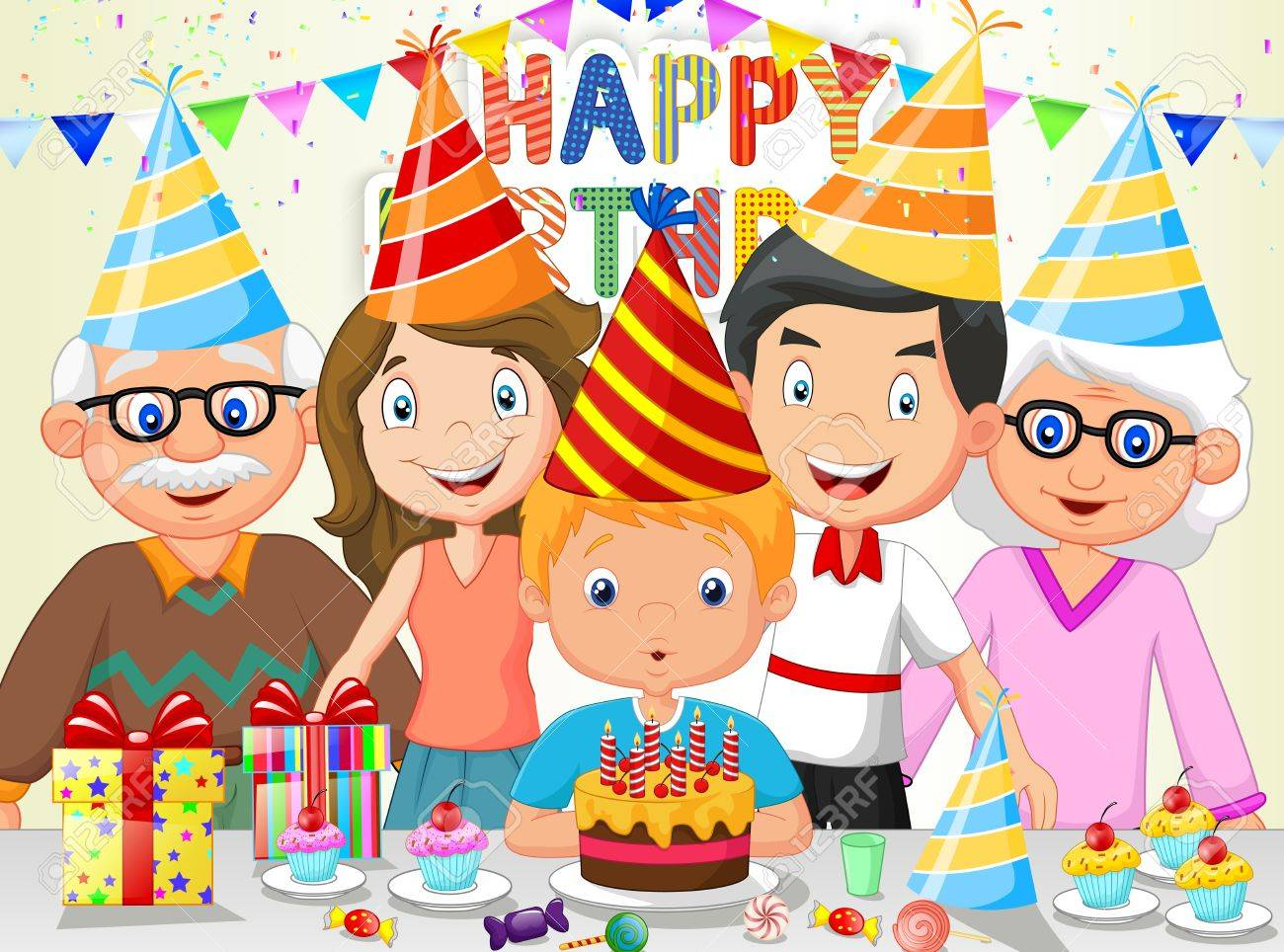Happy boy cartoon blowing birthday candles with his family.
