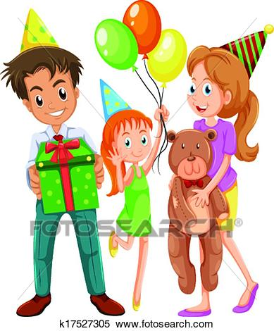 A happy family celebrating a birthday Clipart.