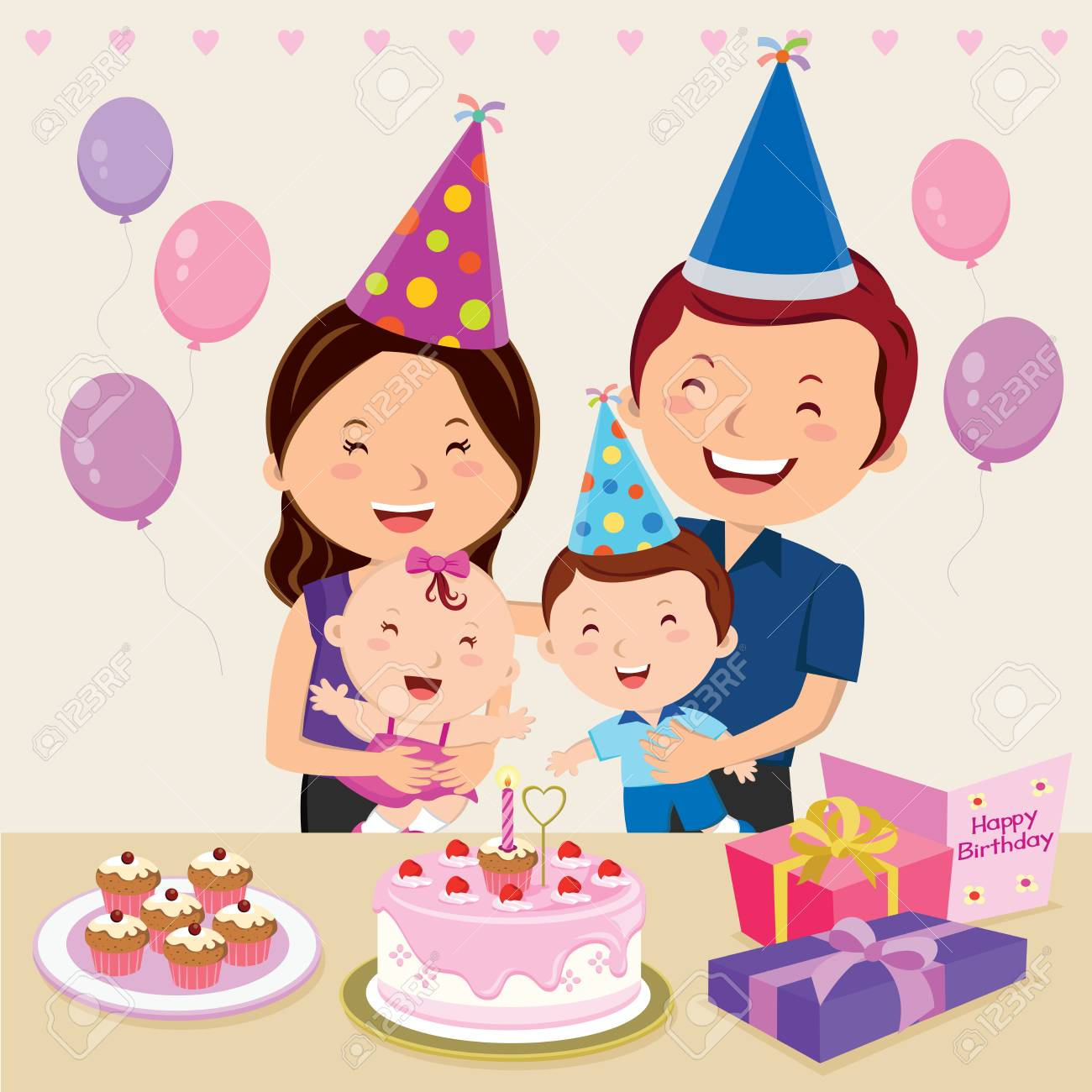 Happy family celebrating baby girl birthday. Vector illustration...