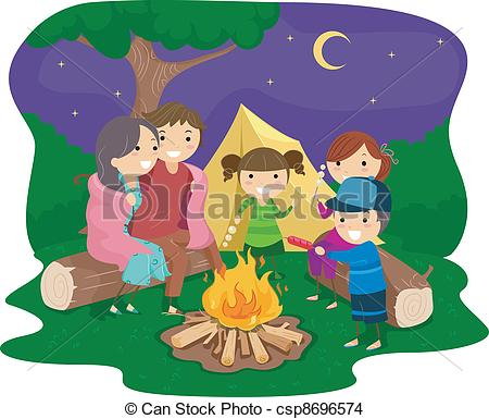 Family Camping Vector Clipart Royalty Free 1603