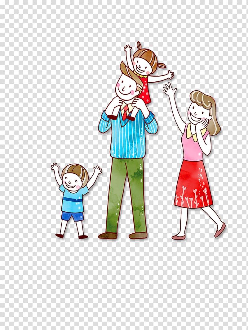 Family illustration, Family Cartoon, family transparent background.