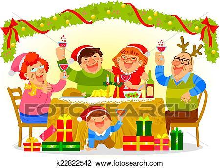Family celebrating Christmas Clipart.