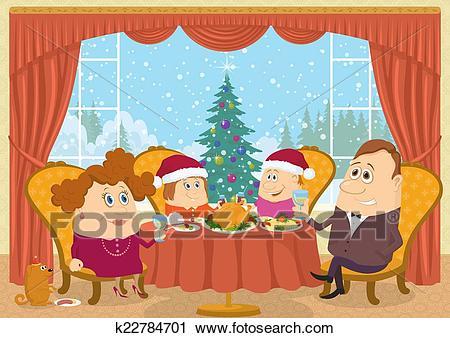 Family at home celebrating Christmas Clip Art.