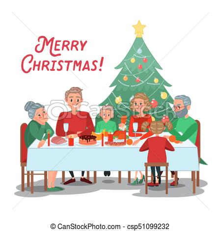 Family Christmas Dinner with Grandparents. Happy Family Celebrating New  Year. Winter Holidays. Vector illustration.