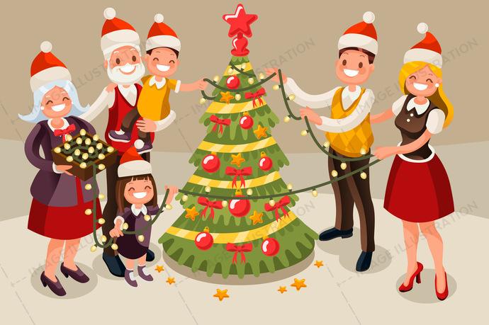 Christmas Tree Lights Vector Illustration.