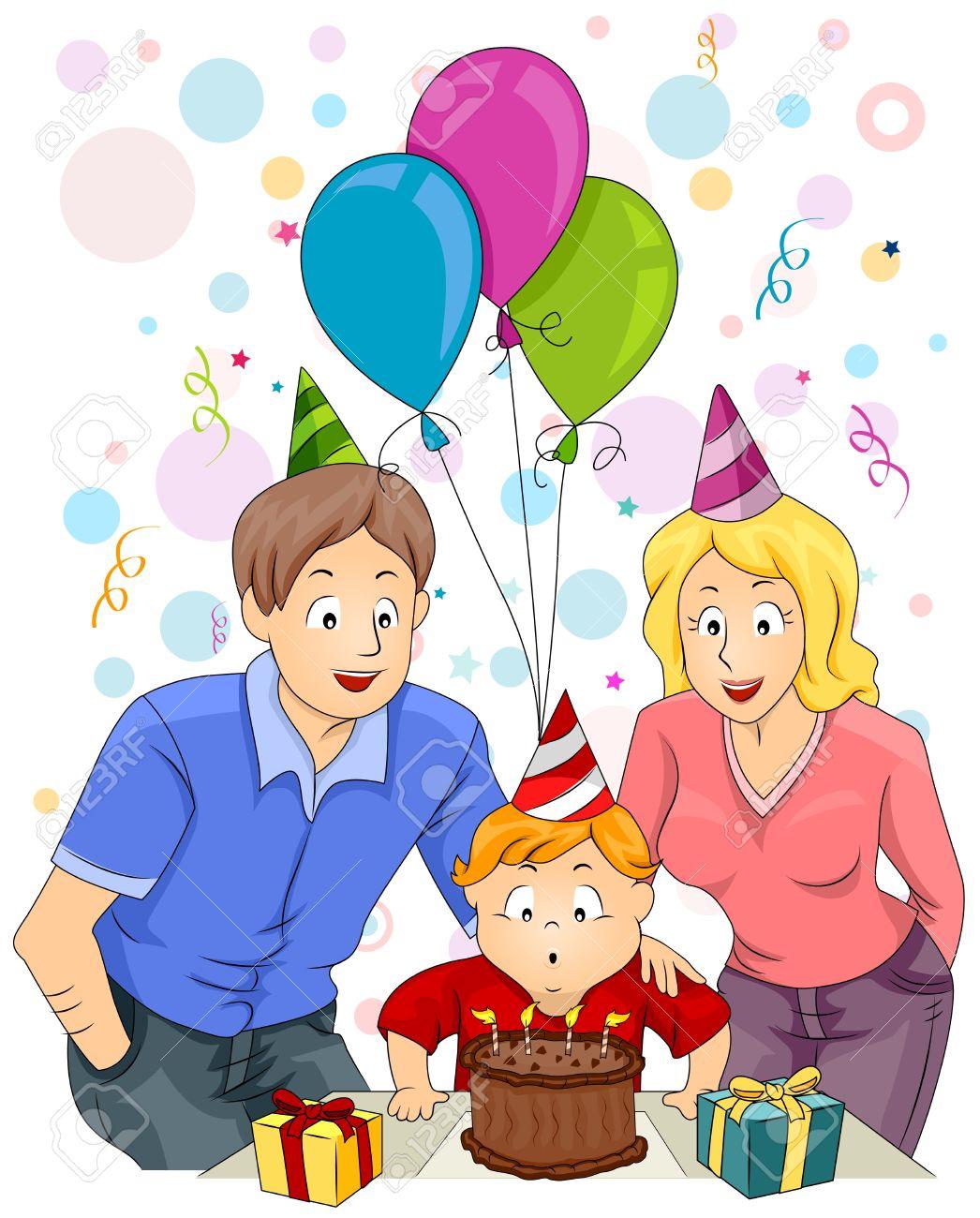 Birthday Celebration With Family Clipart.
