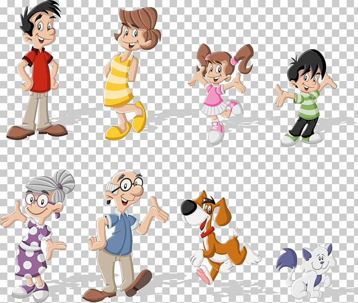 Cartoon , Enjoyable family, assorted characters illustration.