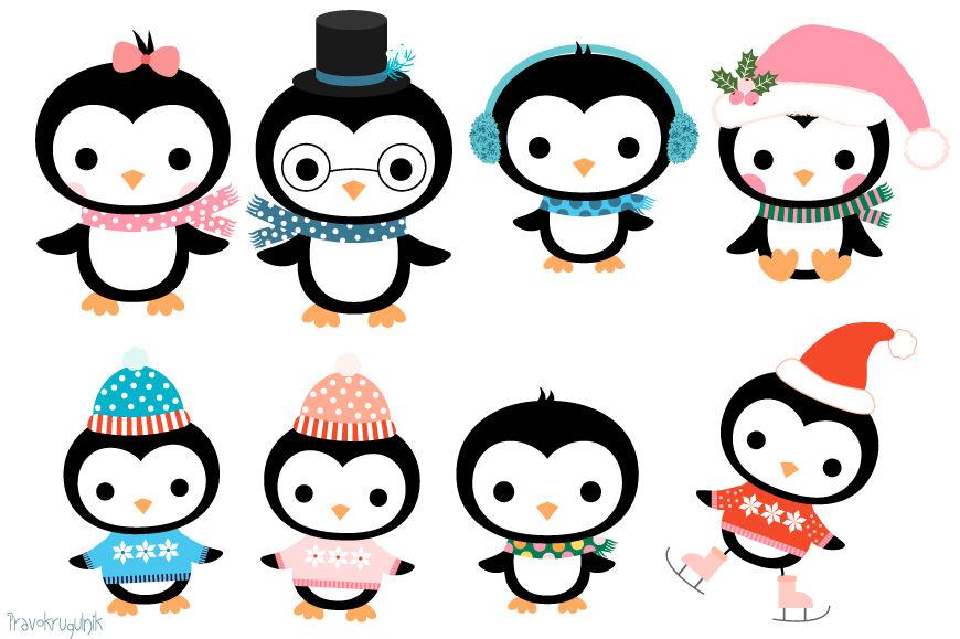 Cute penguin family clipart set, Christmas penguins, Winter.
