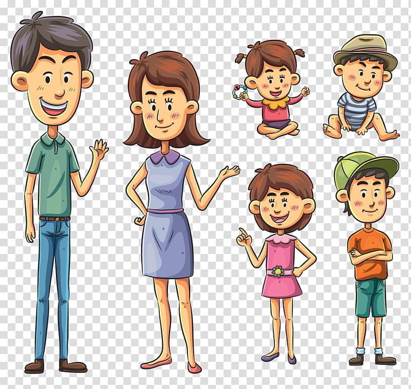 Male and female animated characters , Cartoon Family Drawing.