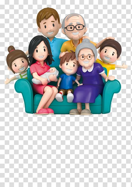 Animated characters family , Extended family , 3D cartoon.