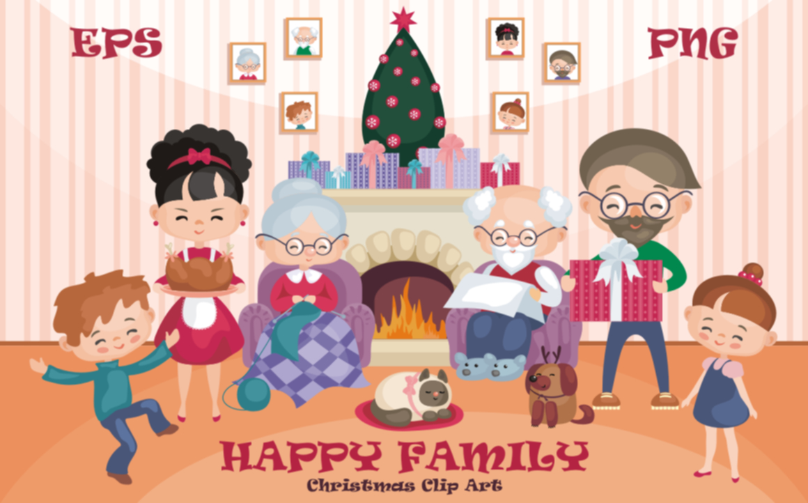 Happy Family Christmas Clip Art.