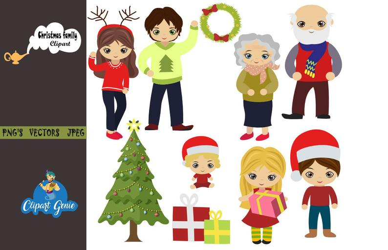 Christmas family, Christmas Digital Clip art, Christmas Tree clipart,  christmas clipart, xmas clipart, nativity clipart, santa clipart,.