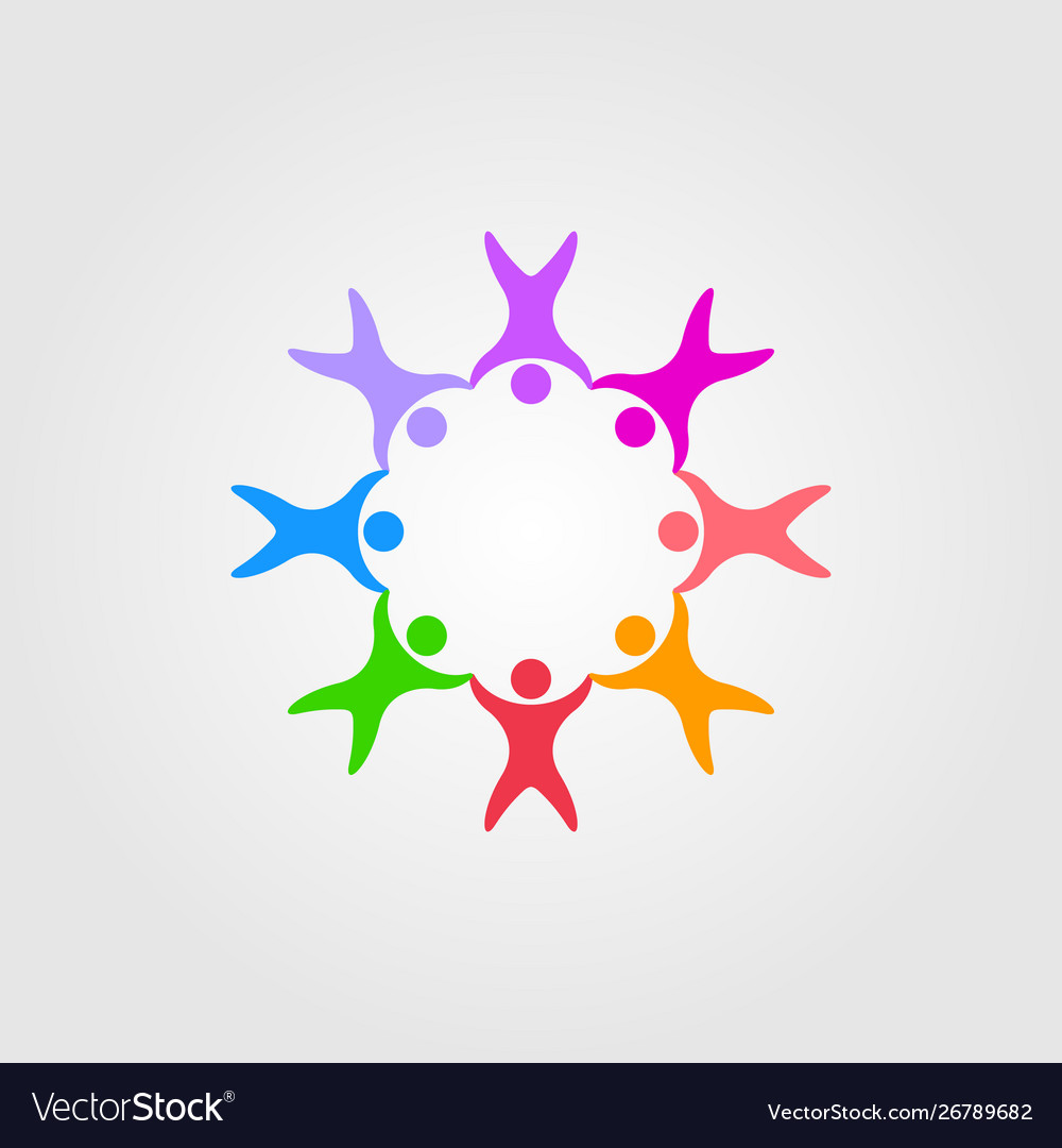 Circle people family together human unity logo.
