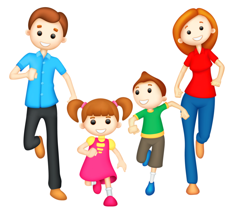 Family Clipart 4 People 1 Daughter 1 Son.
