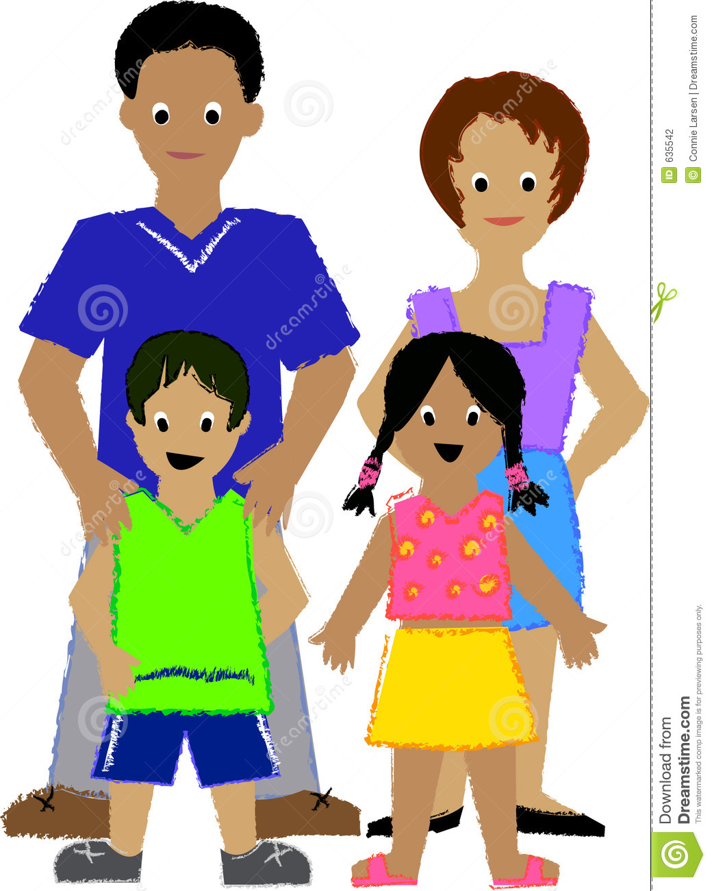Family With 4 Kids Clipart.