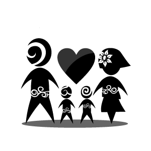 Family black and white clip art stick figure family clipart.