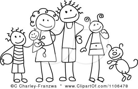 Clipart Black And White Stick Drawing Of A Happy Mother And.