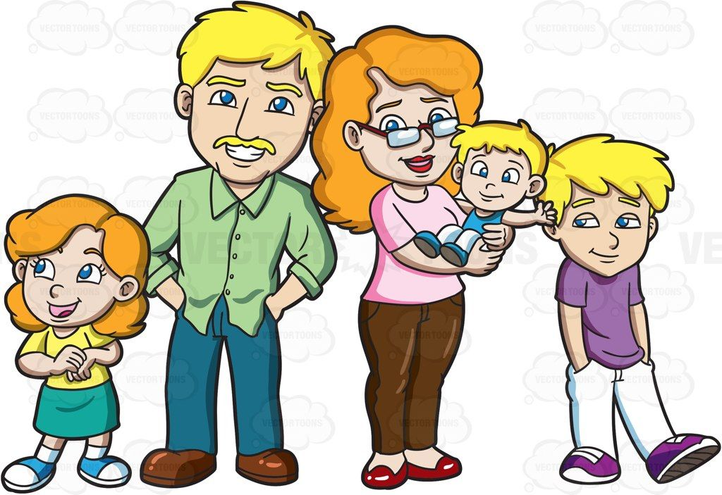 A lovely family of five #cartoon #clipart #vector.
