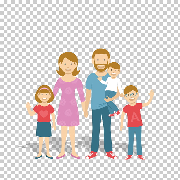 Family Child Cartoon Illustration, Family of five, family.