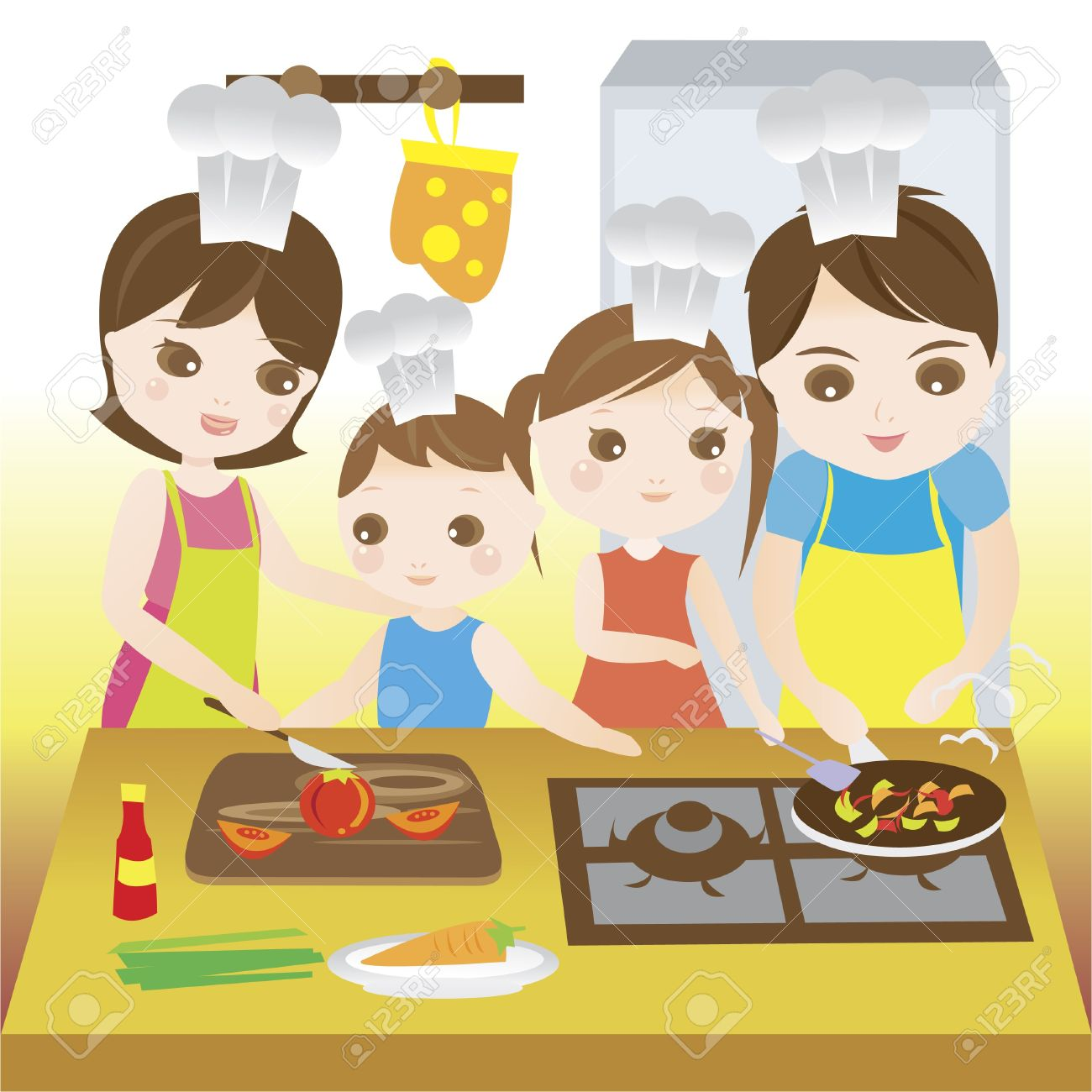 Family cooking together happily.