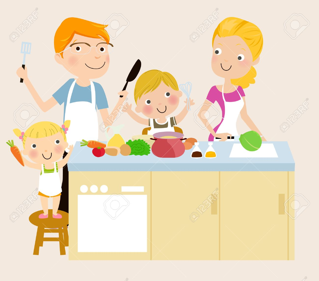 Family cooking.