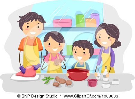 Clipart Family Cooking Together.