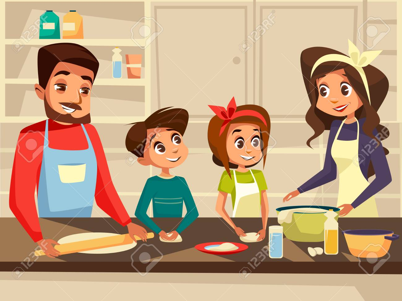 Modern family together cooking at kitchen vector cartoon flat...