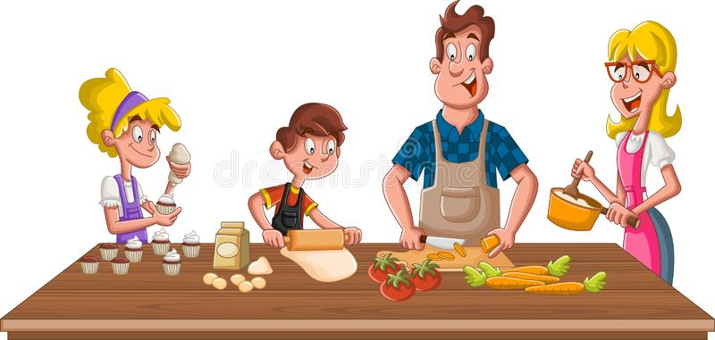 Family Cooking Stock Illustrations.